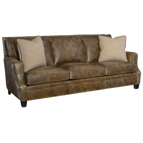 manzo rustic lodge brown leather nailhead sofa kathy kuo