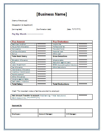 pay slip template word templates