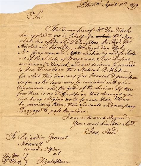 up letter american revolution 1779 letter to brigadier general maxwell from joseph reed