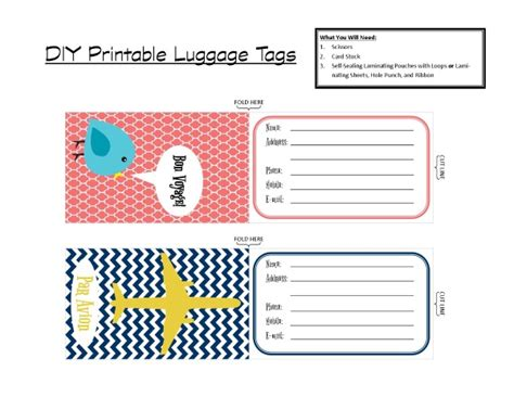Printable Luggage Tags Pdf | diy printable luggage tags brass and whatnots