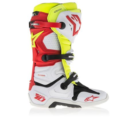 alpinestars tech 6 motocross boots alpinestars tech 10 motocross boot red white fluro yellow