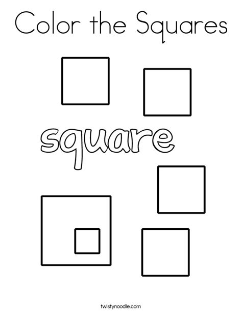 square coloring pages color the squares coloring page twisty noodle