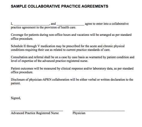 Collaborative Practice Agreement Ichwobbledich Com Practitioner Collaborative Agreement Template