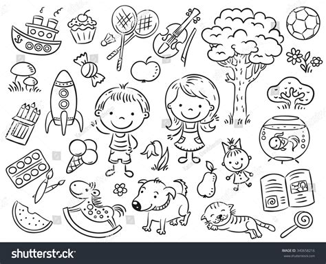 creative beautiful coloring book coloring books doodle set objects childs including stock vector