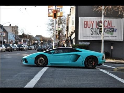 blu glauco lamborghini aventador roadster driving loud acceleration youtube