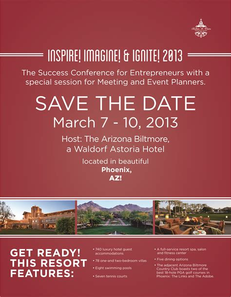 please save the date march 7 10 2013 for the success
