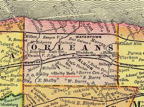 Orleans County, New York 1897 Map by Rand McNally, Albion, NY Shelby County Ny