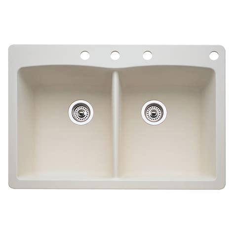 Shop Blanco Diamond 22 In X 33 In Biscuit Double Basin Lowes Sinks Kitchen