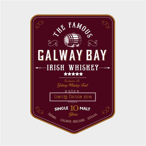 design label logo galway bay irish whiskey logo label design bad dog