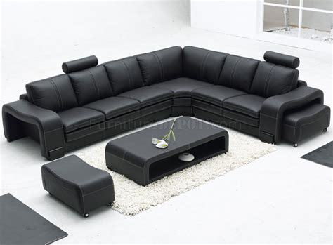 Leather Sofa Table Black Leather Modern Sectional Sofa W Ottoman Coffee Table