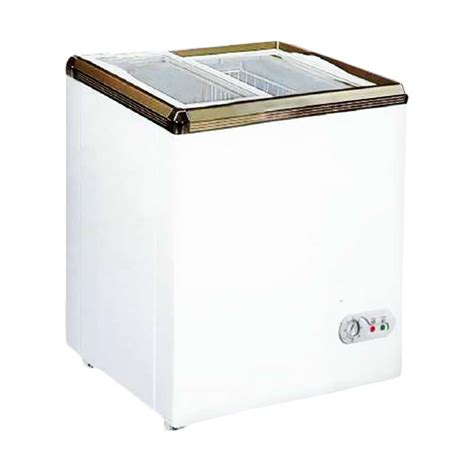 jual gea sd 100 sliding flat glass freezer putih