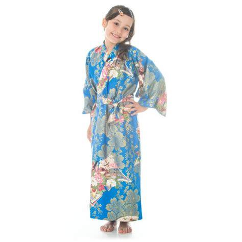 Cotton Japan Garis age 8 to 9 blue cotton japanese kimono