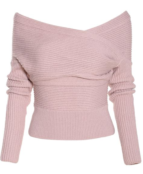 pink sweater boat neck wrap front pink sweater