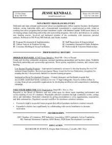 non profit resume sle non profit program director resume sle 28 images