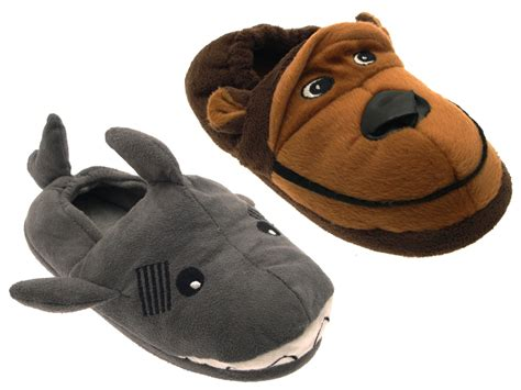 boys shark slippers boys novelty slippers boots plush fleece