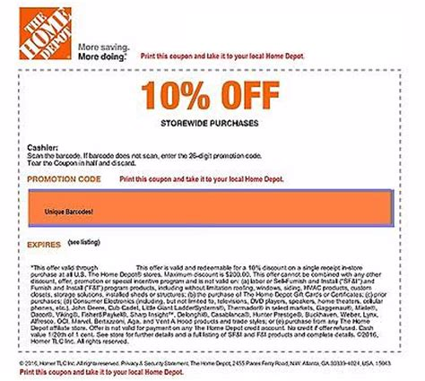 home depot code off coupon save up to $200 in store only