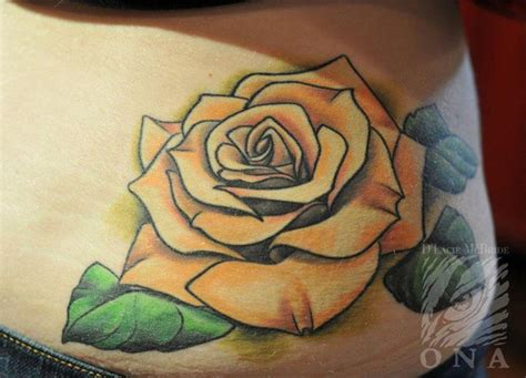rose tattoo with leaves 28 best yellow tattoos