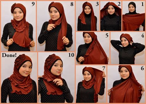 tutorial jilbab pashmina ala april jasmine cara memakai jilbab pashmina kaos modern glitter