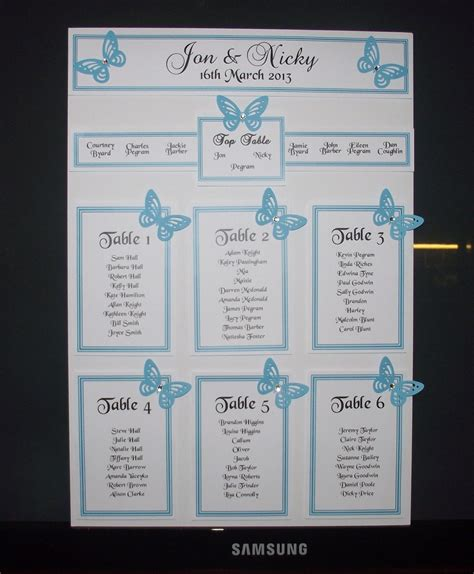 wedding seating chart table plan personalised a3 a2