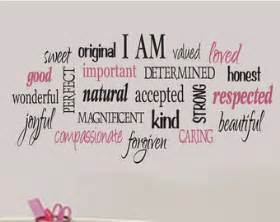 Am positive word collage for girls teen girl vinyl wall design decor