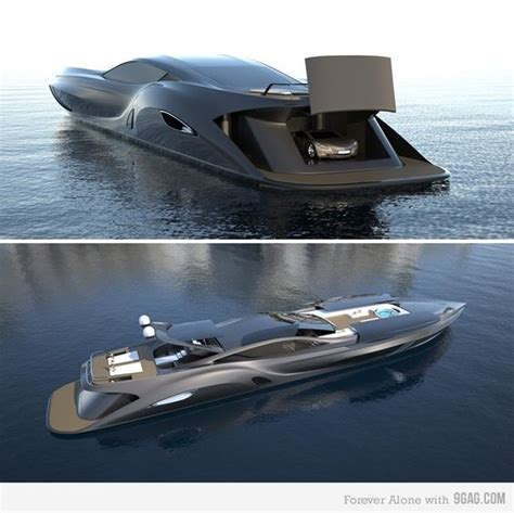 boat powered by car gray luxury yacht with garage for car private jets