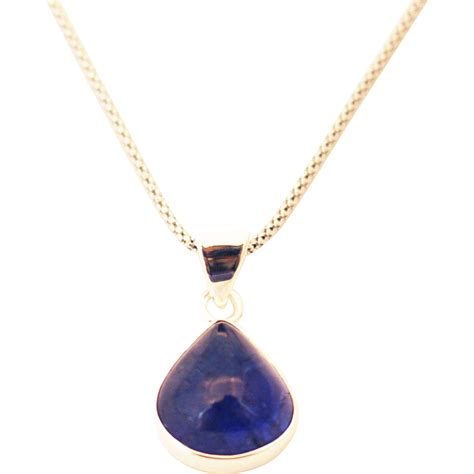 Handmade Sterling Silver Necklace - handmade tanzanite pear shape necklace in sterling