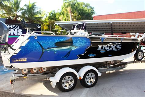 boat wraps darwin boat graphics three quarter wrap express signs