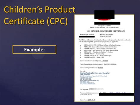 Children S Product Certificate Template Selling Compliant Apparel In The United States English