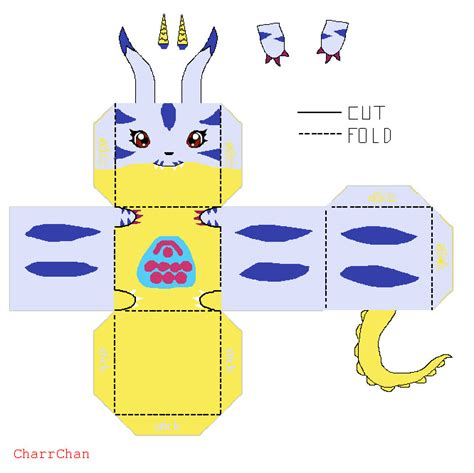 Simple Papercraft Templates - gabumon template papercraft by charrchan on deviantart