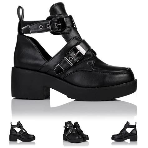 womens biker boots with heels new womens block heel buckle cut out platform biker ankle