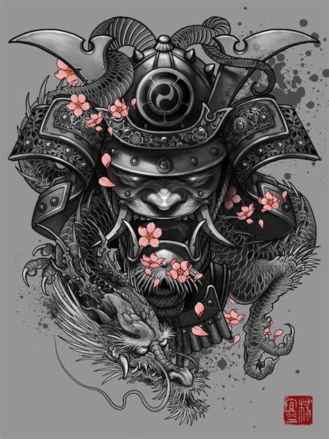 quot dragon samurai quot art print by elvin tattoo on artsider