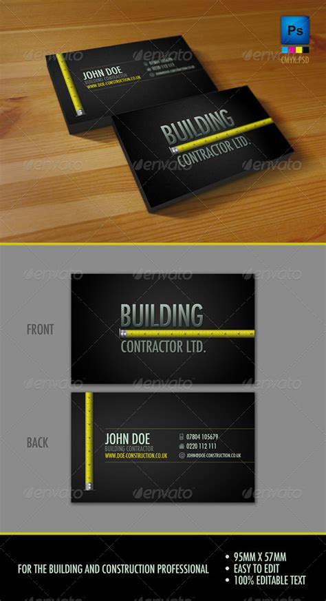 business card templates general contractors professional construction workers business card by sneek