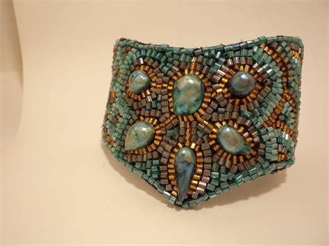 turquoise bead embroidered cuff bracelet 183 a beaded cuff
