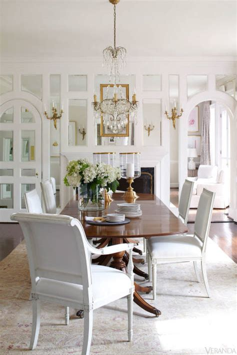 white dining room decor white and gold dining room with mirrored wall