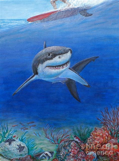 shark painting my pet shark painting by george i perez