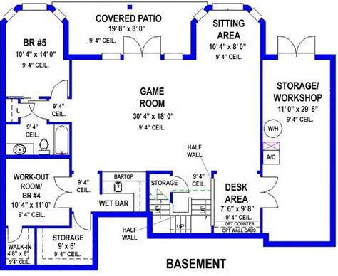 house plans with game room walkout basement with game room and workshop beach house