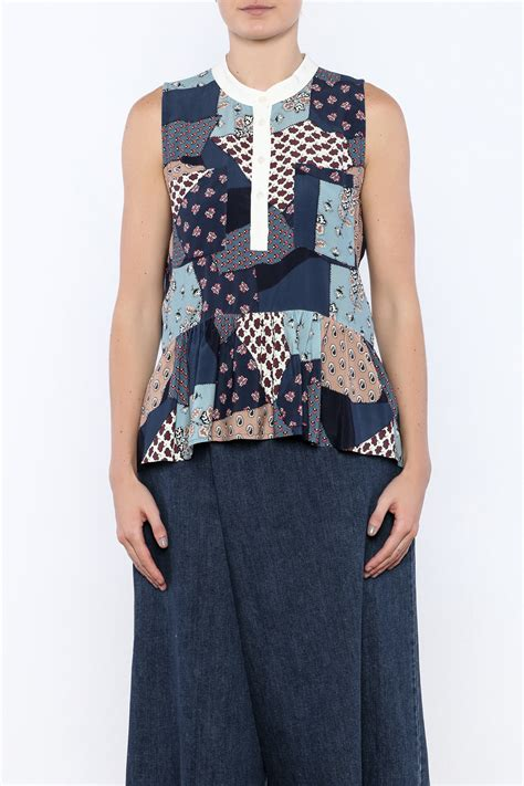Patchwork Top - sea patchwork top from florida by rue shoptiques