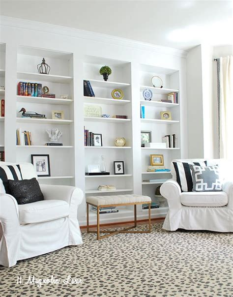 bookcases that look built in create the look of high end built in bookcases on an empty