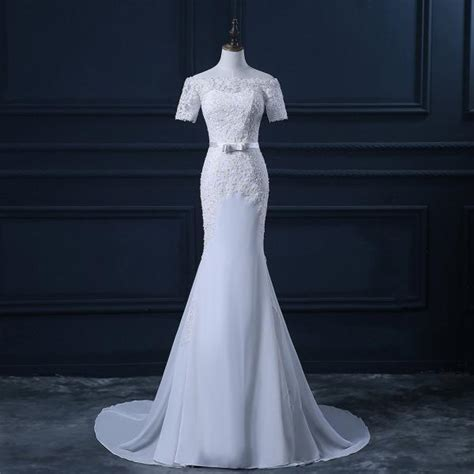 wedding gowns for women over 45 off the shoulder short sleeves chiffon appliques lace