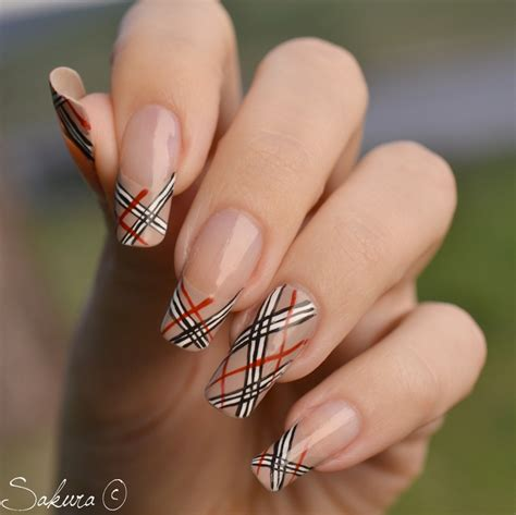 burberry pattern nails burberry french tips nails nails nails pinterest
