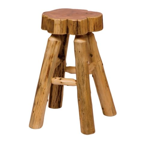 Cedar Log Bar Stools by Fireside Lodge Cedar Log Bar Stool Slab Seat Foot Rest