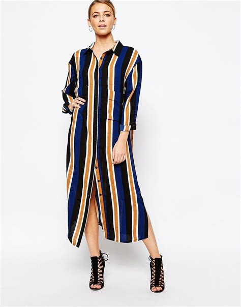 Striped Midi Shirt Dress boohoo striped midi shirt dress my style