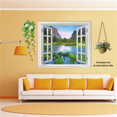 3d 110cm window landscape view removable wall sticker wall