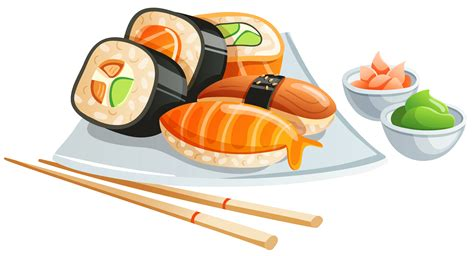 cartoon rolls 30 sushi roll clip art