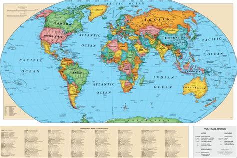 map world laminated world map poster