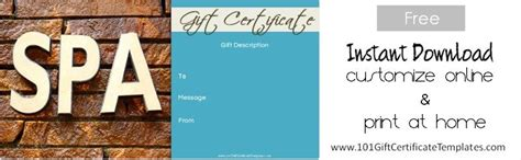 Spa Gift Certificates Spa Gift Certificate Template