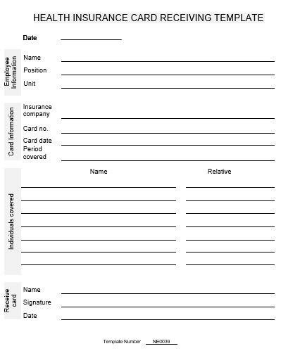 Ne0039 Health Insurance Card Receiving Template English Namozaj Health Insurance Card Template