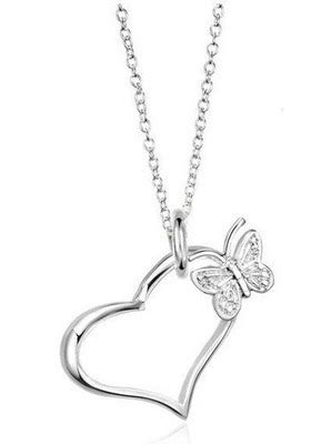 Open Heart and Butterfly Pendant Necklace (chain included