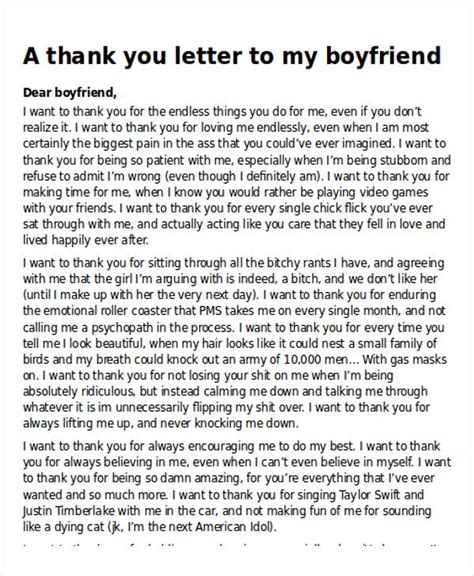 thank you letter boyfriend 5 sle thank you letter to my boyfriend sle templates