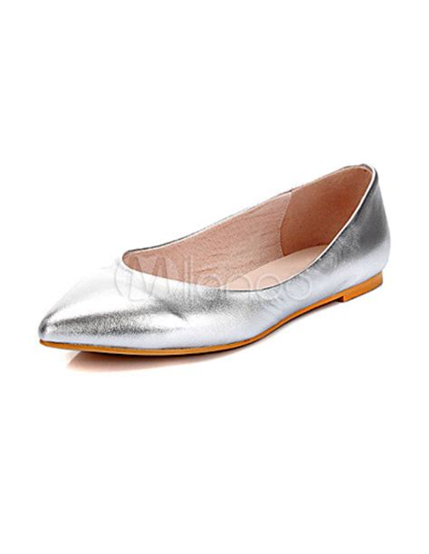 silver flat pointed shoes silver pointed toe flat fashion shoes milanoo